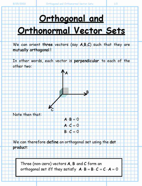 ortho math  vectors matrix linear